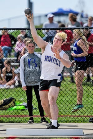 Trace Alexander of the Brookfield High School track-and-field Bulldogs takes one of his attempts in the April 9 Chillicothe Joe Shy Relays meet. He and the other BHS track-and-field athletes will begin their postseason competition Saturday, May 8, in the Class 2 District 4 meet at Monroe City.