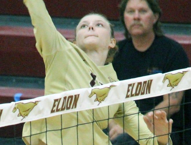 Eldon junior Caroline Beckmann spikes the ball in a game against Bolivar on October 20 in Eldon.