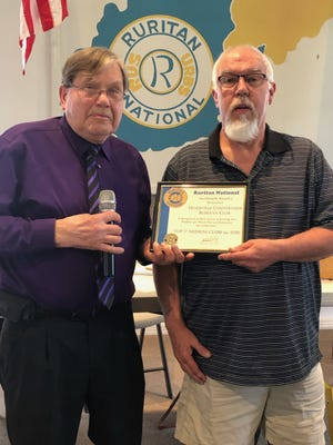 Rick Johnston, president of the Headsville Countryside Ruritan Club, was honored at the Upper West Virginia District Ruritan meeting with an award for being in the top 5% of medium-sized clubs for 2020. National representative Steve Kidwell presented the award;  the second consecutive year that the Headsville Club has been so honored.