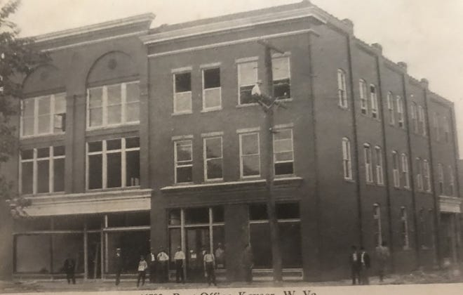 The A&P would eventually be located in the building on the left, which was Sincell's in this photo. The buildings were located on Armstrong Street. The A&P would later move to Main Street.