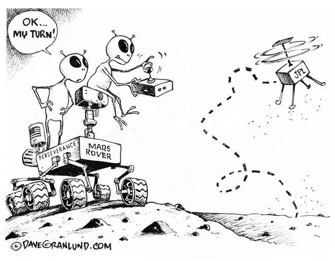 Mars copter flies