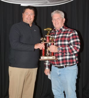Matt Curl, left, and Dan Coit at the 2019 Fairbury awards banquet. Coit passed away recently.