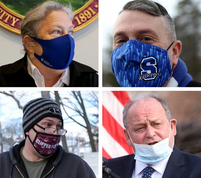 Seacoast mayors, clockwise from top left, Caroline McCarley of Rochester, Dana Hilliard of Somersworth, Robert Carrier of Dover and Rick Becksted of Portsmouth, are joining city leaders across the state in urging people to wear face coverings to protect against the spread of COVID-19 after Gov. Chris Sununu lifted the statewide mask mandate.