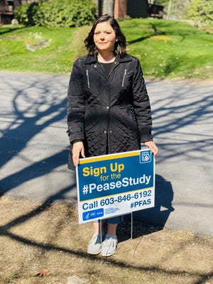Pease CAP member and Portsmouth resident Andrea Amico will be out posting lawn signs Saturday to encourage people to sign up for the first in the nation PFAS health study