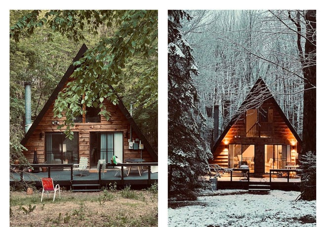This Hamlin cabin in the Poconos is a popular Airbnb rental.