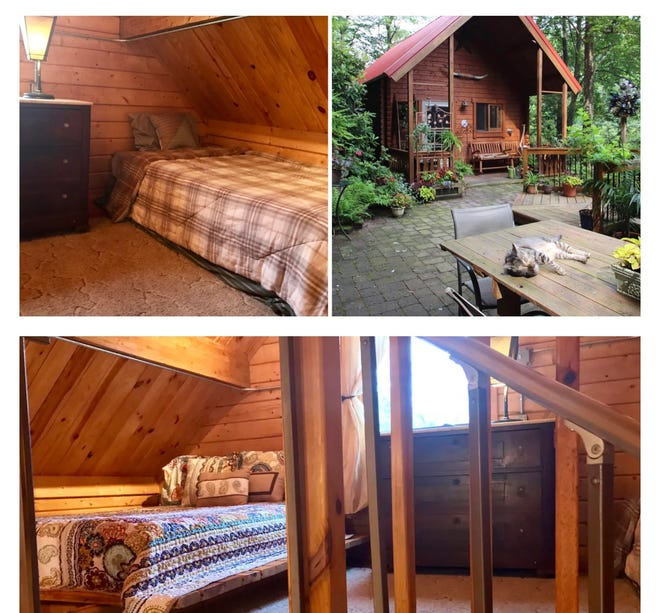 This cabin in Jim Thorpe is a popular Airbnb rental and sleeps three people.