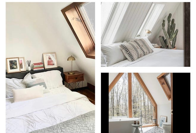 A modern decor complements this cozy cabin in Hamlin, Pennsylvania. The home sleeps six and is a popular Airbnb rental.