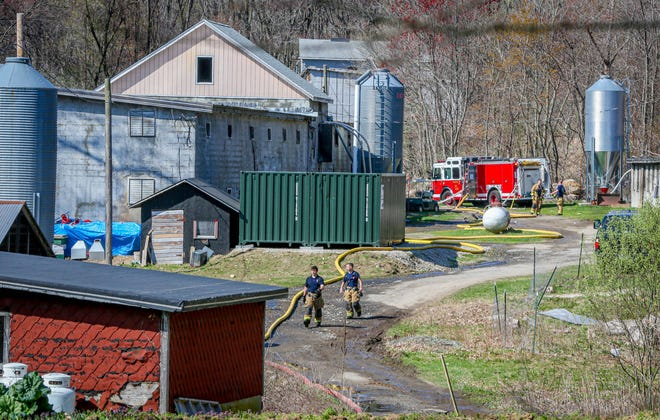 Firefighters still on the scene at Baffoni's Poultry in Johnston.