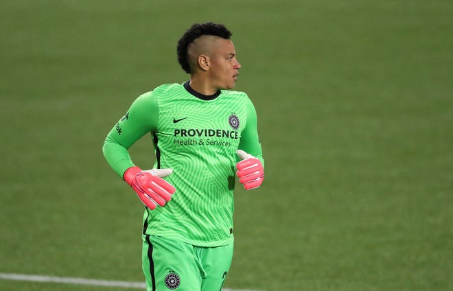 Portland Thorns goalkeeper Adrianna Franch, a Salina South High School graduate, plays during the second half of a National Women's Soccer League Challenge Cup soccer match against Kansas City earlier this month in Portland, Ore.