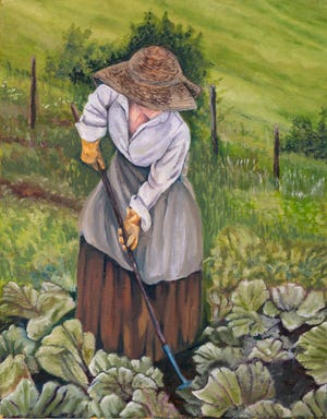 Stacey PIlkington Smith created this oil painting, Diggin in the Garden.