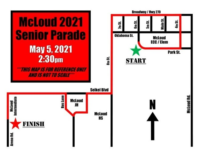 McLoud Senior Parade Route.