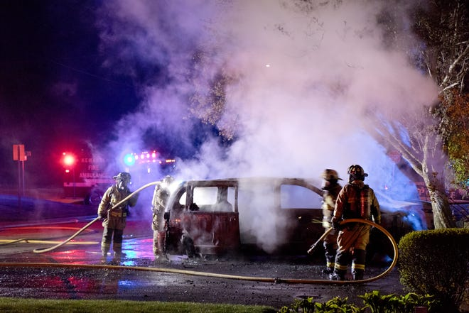 This van fire at Midland Apartments gave Kewanee firefighters an extra challenge.