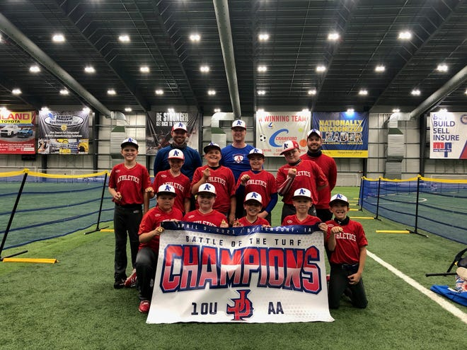 The Kewanee A's 10u Blue team played over th eApril 10 weekend in the Battle of the Turf Tournament at the TBK Sports Complex in Bettendorf, Iowa. The team played four games and won the championship game 10-2.  Front row, from left: Myer Heitzler, Ace Lafollette, Easton Blake, Jace Nichols and Cainen Winter. Middle row: Pierce Childs, Baylor Frankenreider, Eli Dennison, Reid Nichols and Jaton Huber, Back row: Coaches Tyler Nichols, Matt Huber and John Blake