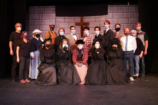 """The cast and crew of the Greater Worcester Opera's production of """" A Gentleman's Guide to Love and Murder,"""" which will be livestreamed  for six performances beginning May 7."""