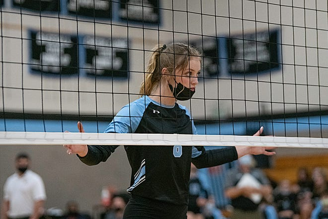 Pueblo West High School senior Carly Willardson guards the net during the S-CL  matchup against South on Tuesday April 20, 2021.