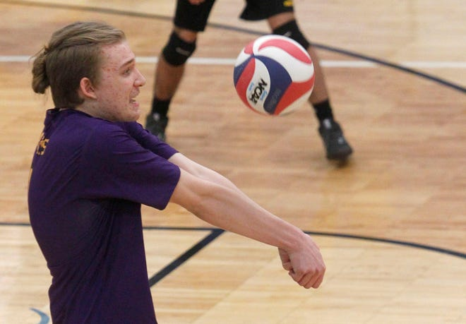 Sam Gilmore, a senior middle hitter, and the Reynoldsburg boys volleyball team earned the first OCC victory in the program's history by beatingWesterville South 25-16, 25-22, 19-25, 25-20 on April 20. The Raiders first played in 2017 and started OCC play a year later.