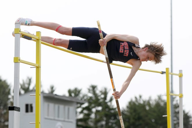 Tyson Evans won the 110 hurdles, 300 hurdles and pole vault in the Best of the South-West meet April 16 at Franklin Heights, leading the Grove City boys to the team title.