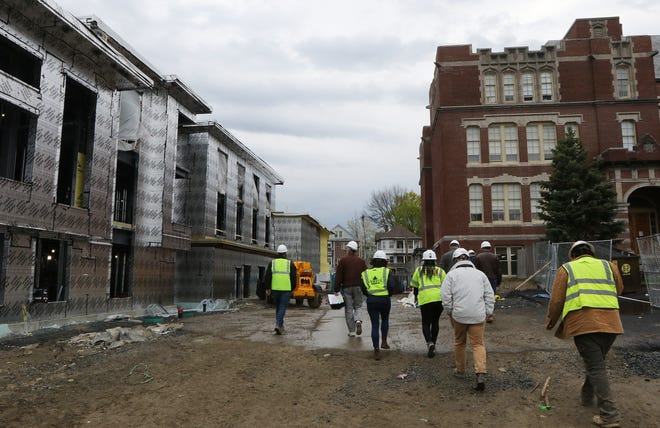 A progress tour was held for members of the building committee at Watertown's new Hosmer School, April 21, 2021.