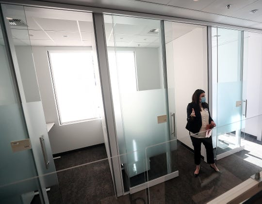 Clinic operations director Brittany Crabb gives a tour of the new St. Michael Medical Center's medical pavilion in Silverdale on Wednesday.