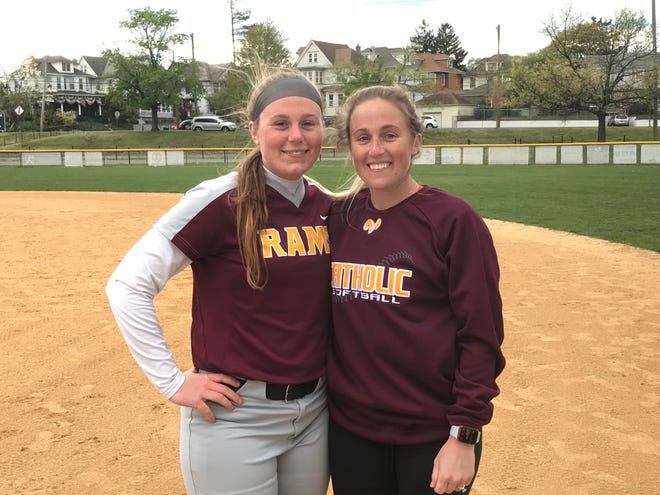 Cambrie, left, and Carly Todd have a unusual player-coach relationship on the Gloucester Catholic High School softball team since they are sisters.