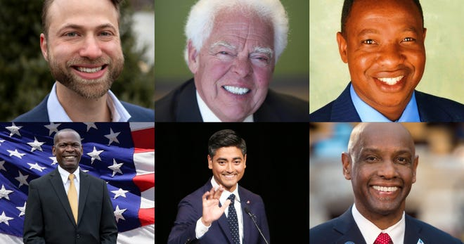 These six candidates will vie for Cincinnati mayor in the May 4 election: (top row from left) Gavi Begtrup, David Mann and Herman Najoli; (bottom row from left) Raffel Prophett, Aftab Pureval and Cecil Thomas. Current Mayor John Cranley is term-limited and cannot run again.