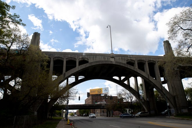 A view of the Western Hills Viaduct on Wednesday, April. 21, 2021, in Cincinnati.
