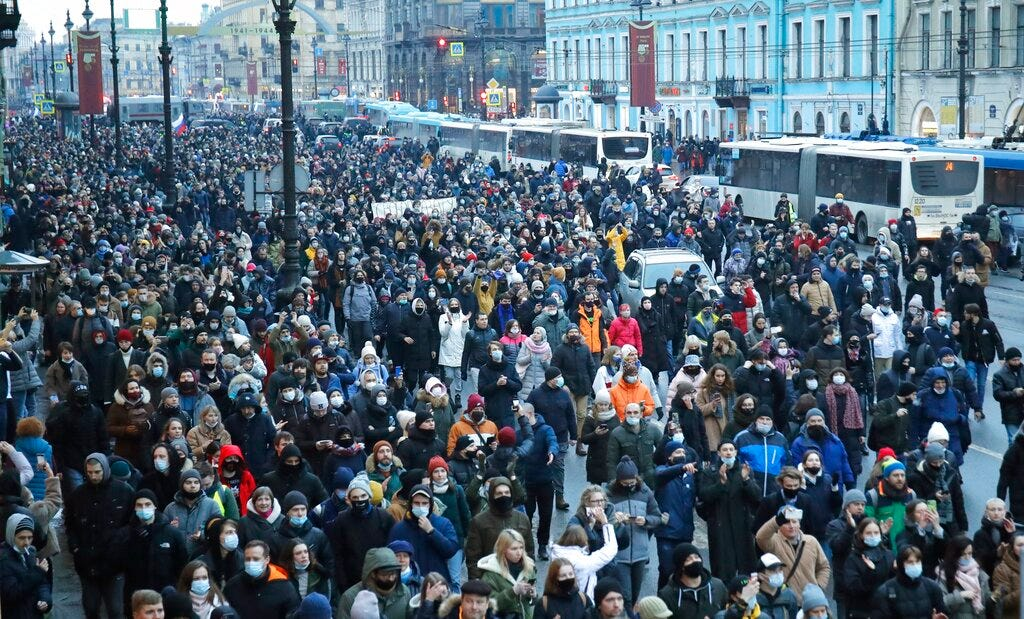 Nearly 1,500 reported arrested at Navalny rallies in Russia 1