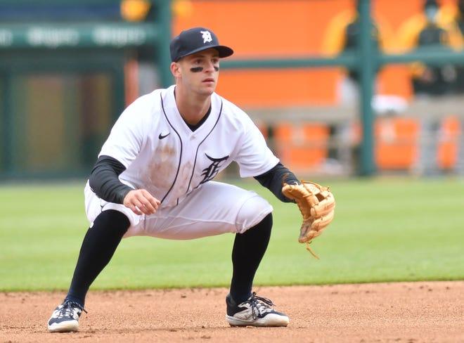 Pemain tengah Macan Zack Short membuat debut liga utamanya di base ketiga, terlihat di sini pada inning keempat dari pertandingan pertama hari Rabu di Comerica Park.