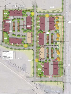 The site plan for two tracts on Hansen Farm in south Fort Collins.