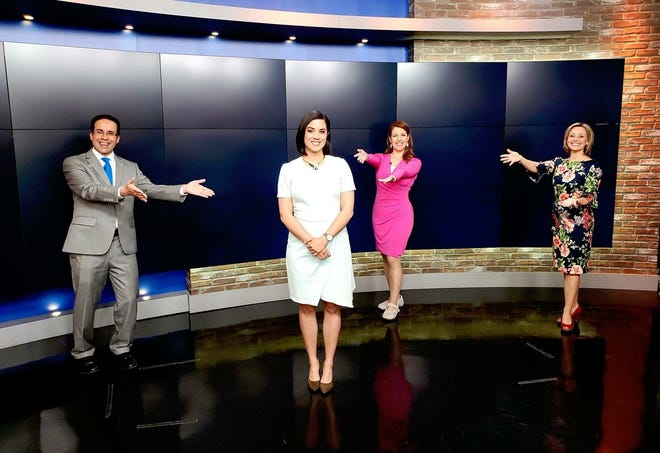 "Aisha Morales, front, has joined Steve Beylon, from left, Kathryn Bracho and Tammy Elliott on WBAY-TV's ""Action 2 News This Morning."" She makes the move from weekend anchor and dayside reporter following the retirement of longtime weekday morning anchor Kevin Rompa in March."