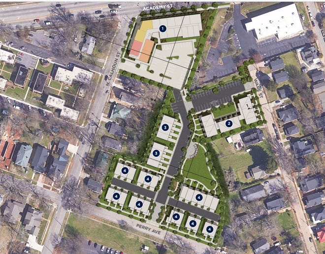 The updated Mosaic project site plan submitted to the City of Greenville Planning Commission on April 19, 2021.