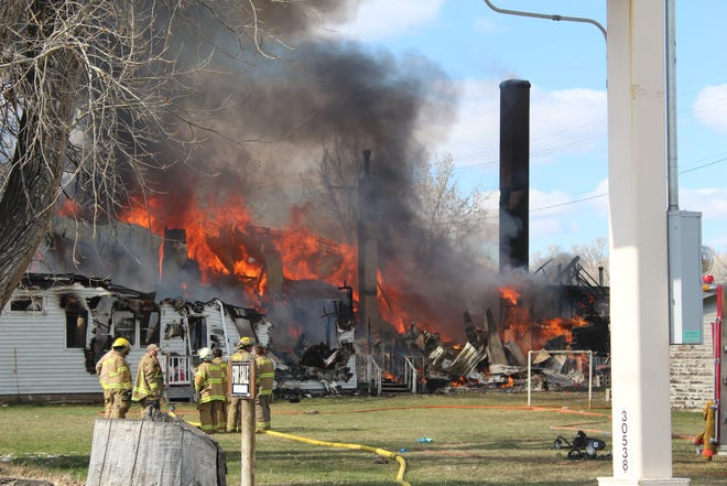 Crews from at least five fire departments responded to Tuesday's explosion and subsequent fire which destroyed the Gunther Apartment building in Choteau.