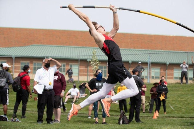 Liberty Union senior Jimmy Rhoads broke the Division II state pole vault record with a vault of 16 feet, 7 inches earlier this season at Zuber Relays.