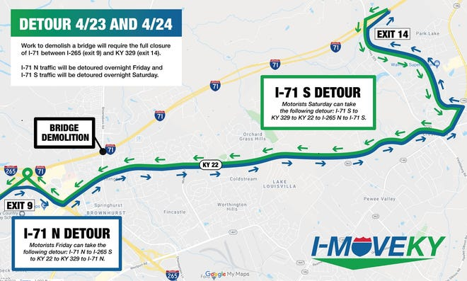 A detour in place on Friday and Saturday along Interstate 71 in east Louisville.