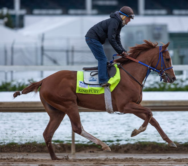 Kentucky Derby hopeful King Fury gallops on the track at  Churchill Downs. April 21, 2021