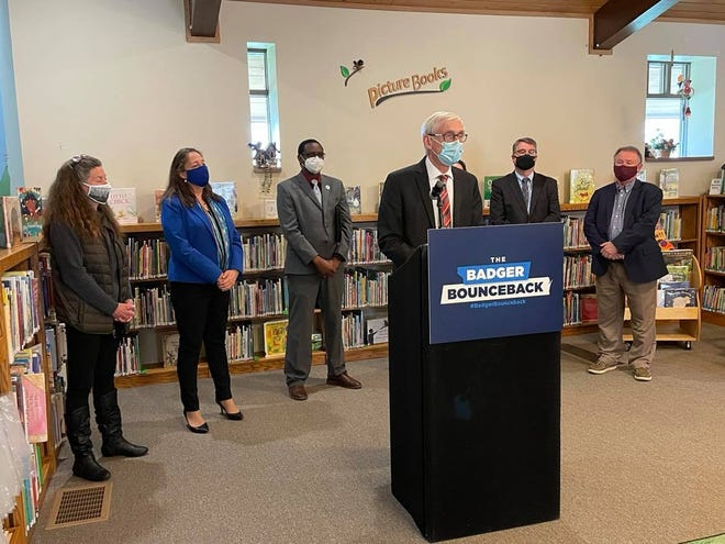 Gov. Tony Evers addresses reporters on April 24, 2021, about the CLEAR Act, which aims to combat PFAS in Wisconsin.