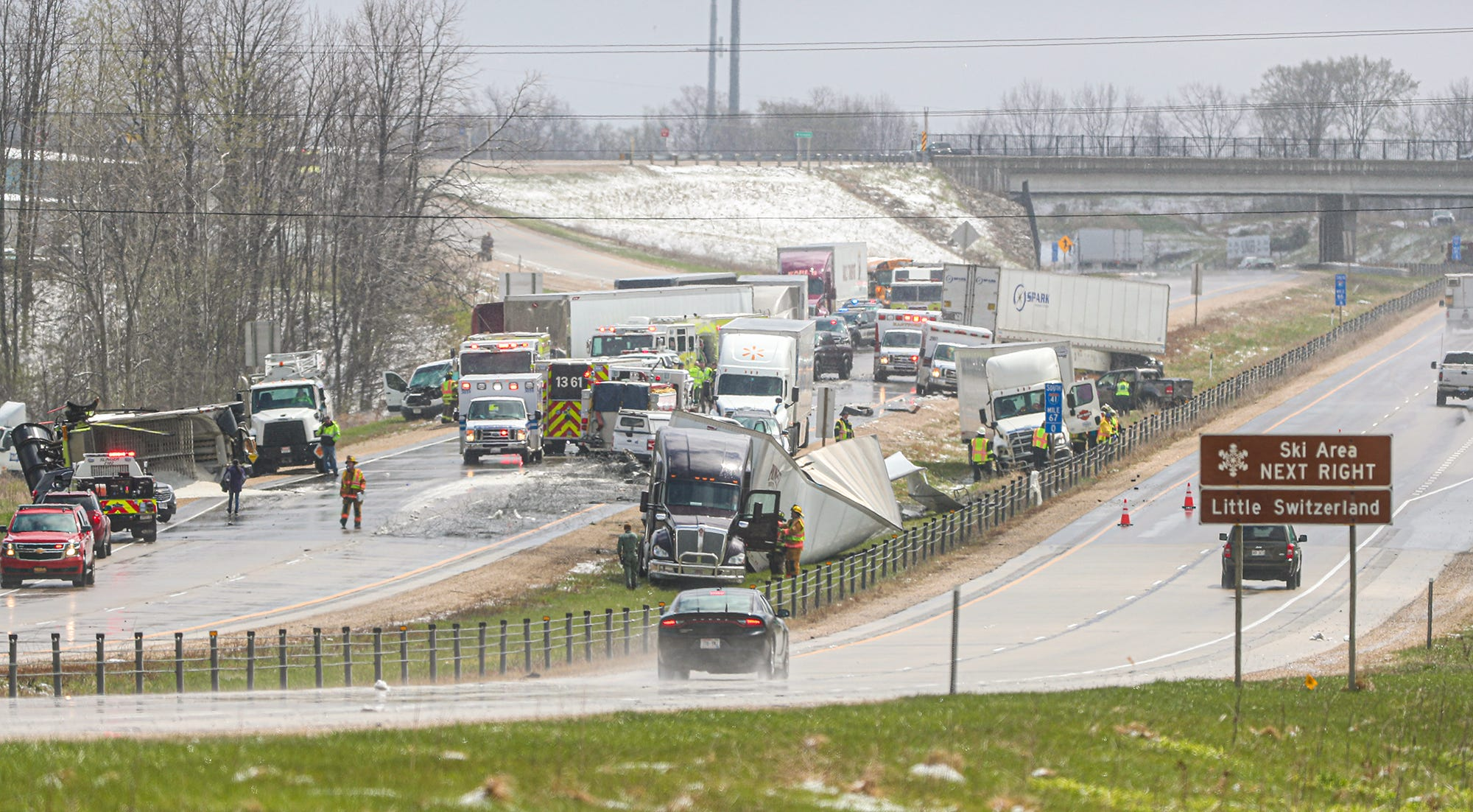 A driver navigates the wreckage of an I-41 pile up and comes through it unscathed