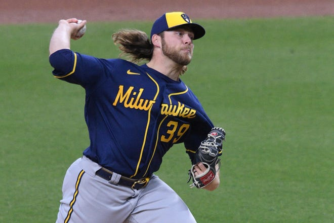 Brewers starting pitcher Corbin Burnes has struck out 40 batters without a walk in his four starts.
