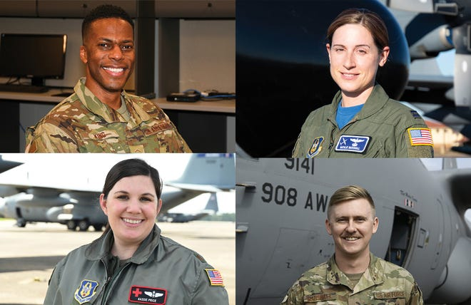 Clockwise from top left are Master Sergeant Antonio King, Captain Natalie Marshall, Technical Sgt. Matthew Marshall, and Major Kassie Price of the 908th.