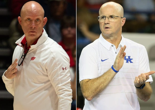 Wisconsin coach Kelly Sheffield (left) and Kentucky coach Craig Skinner (right), both Muncie natives, are coaching teams in the NCAA women's volleyball Final Four.