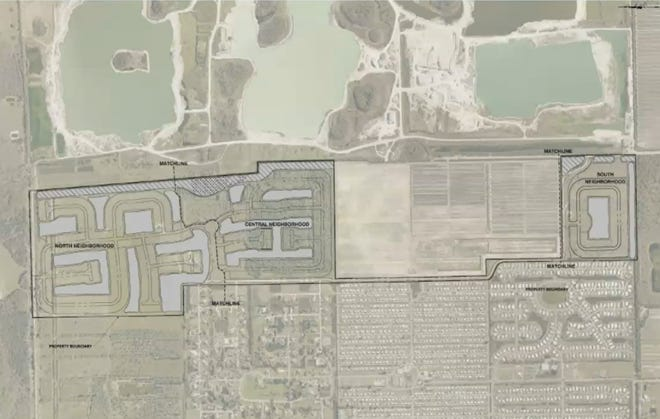 A rough design of the 328-acre site in the Density Reduction/Groundwater Retention district in Bonita Springs. North is to the left of the photo. Citrus Park lies to the west of the land with Bonita Grande Mines to the east.