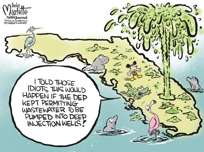 Marlette cartoon: Florida taxpayers footing the bill to have industrial wastewater disposed into deep water injection wells.