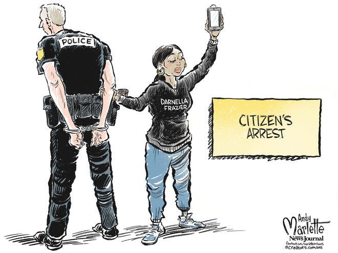 Marlette cartoon: Darnella Frazier delivered justice to George Floyd and Derek Chauvin.