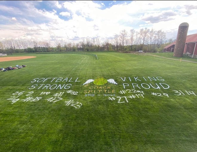 The Northern Lebanon softball team paid tribute to its former head coach, Ed Spittle, who passed away Saturday at age 76, by decorating their field in his honor.