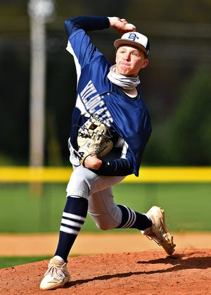 Dallastown's Conner Barto pitches against Spring Grove during baseball action at Spring Grove Intermediate School in Jackson Township, Wednesday, April 21, 2021. Dallastown would win the game 6-2. Dawn J. Sagert photo