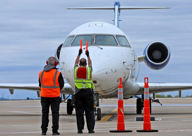 The first SkyWest Airlines flight from Houston arrives to the terminal at the San Angelo Regional Airport on Wednesday, April 21, 2021.
