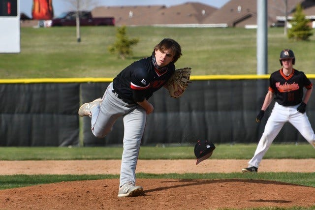 Brandon Valley pitcher Matt Brown's hat flies off on the follow-through against Sioux Falls Washington at Harmodon Park on April 20, 2021.
