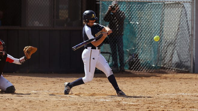 Augustana's Mary Pardo leads the NSIC with 13 home runs this season.