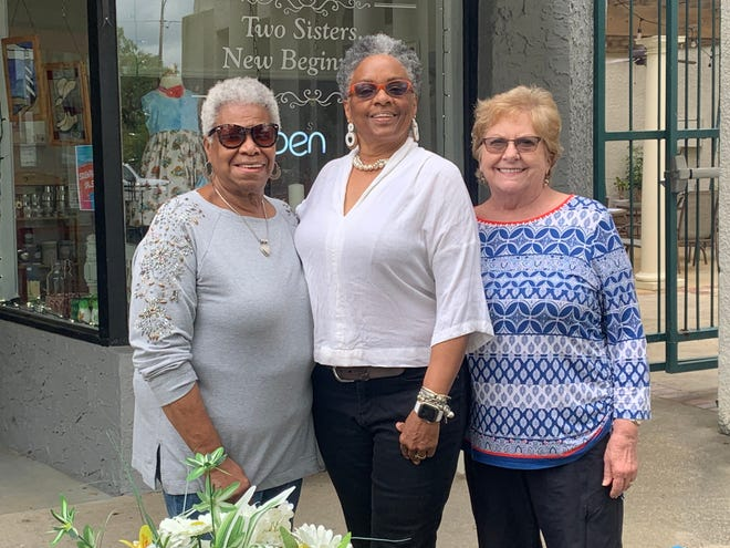 From left, artists Gloria Nicholson, Penny S. Hackett and Alice Stadin will be part of pop-up art show in Monticello.