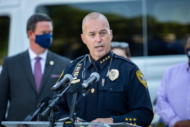 Tallahassee Police Chief Lawrence Revell addresses the media regarding the Tallahassee Emergency Assessment Mobile Unit (TEAM), which began responding to non-violent 9-1-1 calls for service with individuals experiencing a mental health crisis on March 29.